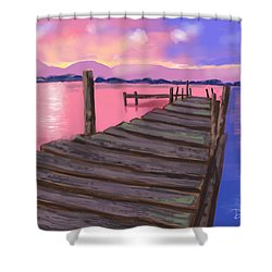 Dock At Sunset Shower Curtain