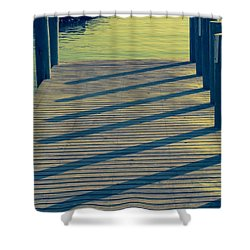 Dock In Green Shadows Shower Curtain