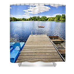 Dock On Lake In Summer Cottage Country Shower Curtain by Elena Elisseeva