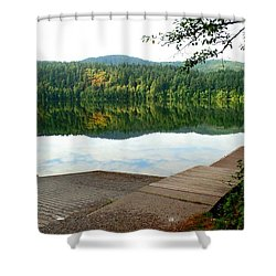 Dock On Lake Padden Shower Curtain by Karen Molenaar Terrell