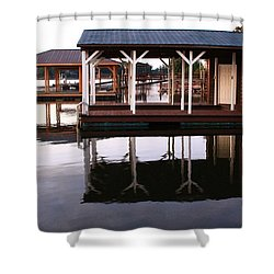 Dock Reflections Shower Curtain by Catie Canetti