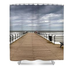 Dock With Benches, Saltburn, England Shower Curtain by John Short