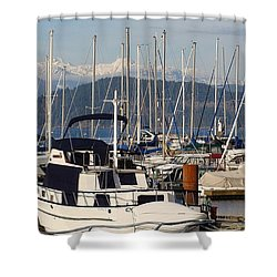 Docked For The Day Shower Curtain by Rod Jellison