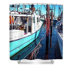 Shower Curtain featuring the photograph Docked In Barnegat Bay by John Rizzuto
