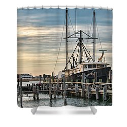 Docked In Barnegat Light Shower Curtain