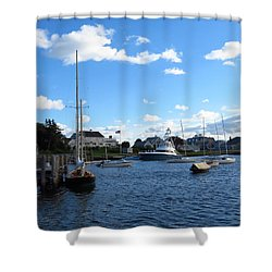 Docked In The Harbor Shower Curtain
