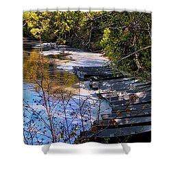 Docked Row Boats Shower Curtain