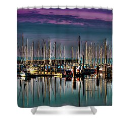 Docked Sailboats Shower Curtain by David Patterson