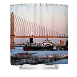 Docked Under The Glass City Skyway  Shower Curtain