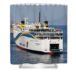 Docking Ferry On Halki Shower Curtain