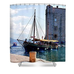 Docking In Dubrovnik Harbour Shower Curtain