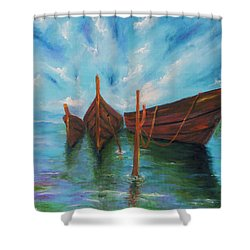Shower Curtain featuring the painting Docking by Itzhak Richter