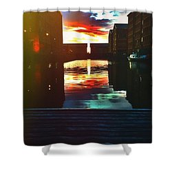 Dockland Sun Down Shower Curtain by Trystan Oldfield