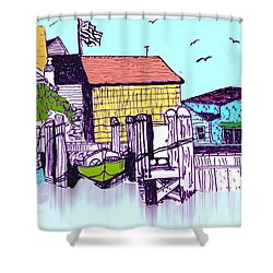 Dockside - Watercolor Sketch Shower Curtain