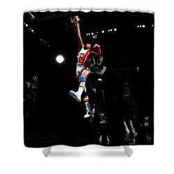 Doctor J Over The Top Shower Curtain by Brian Reaves