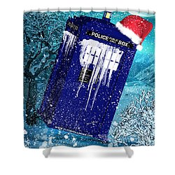 Doctor Who Tardis Holiday Card Shower Curtain