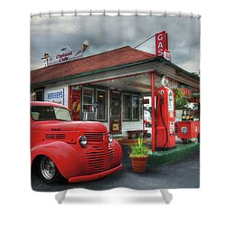 Shower Curtain featuring the photograph Dodge At Cruisers by Lori Deiter