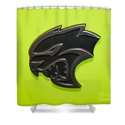 Dodge Challenger Srt Hellcat Emblem Shower Curtain