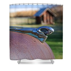 Shower Curtain featuring the photograph Dodge Emblem by Ely Arsha