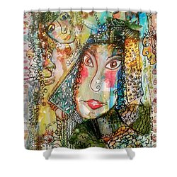 Doe Eyed Girl And Her Spirit Guides Shower Curtain by Mimulux patricia no No