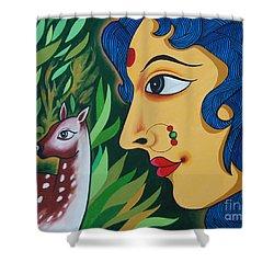 Shower Curtain featuring the painting Doe-eyed by Ragunath Venkatraman