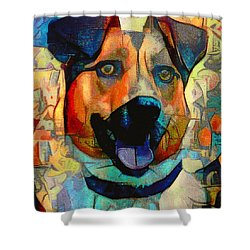 Dog And Cubes Shower Curtain