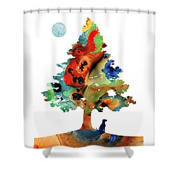 Shower Curtain featuring the painting Dog Art - Contemplation 2 - By Sharon Cummings  by Sharon Cummings