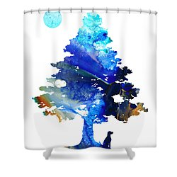 Dog Art - Contemplation - By Sharon Cummings Shower Curtain