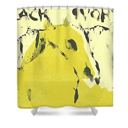 Dog At The Beach - Black Ivory 4 Shower Curtain