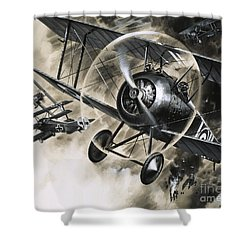 Dog Fight Between British Biplanes And A German Triplane Shower Curtain by Wilf Hardy