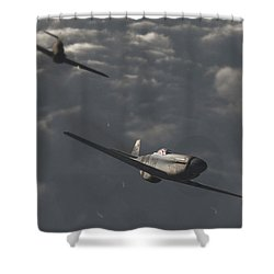 Dog Fight Shower Curtain by Richard Rizzo