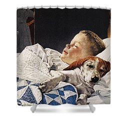 Dog Food Ad, 1956 Shower Curtain by Granger
