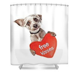 Dog Free Valentines Day Kisses Shower Curtain