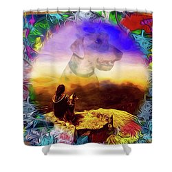 Shower Curtain featuring the painting Dog Heaven by Ted Azriel