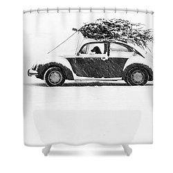 Dog In Car  Shower Curtain
