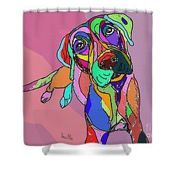 Dog Sketch Psychedelic  01 Shower Curtain by Ania Milo