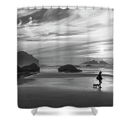 Dog Walker Bw Shower Curtain