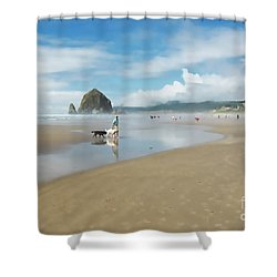 Dog Walking At Cannon Beach Shower Curtain by Maria Janicki