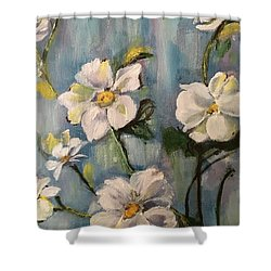 Dog Wood Shower Curtain by Sharon Schultz