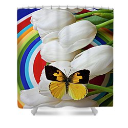 Dogface Butterfly On White Tulips Shower Curtain by Garry Gay