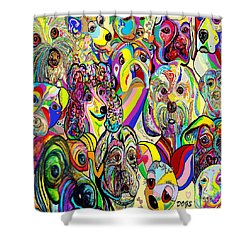 Dogs Dogs Dogs Shower Curtain by Eloise Schneider