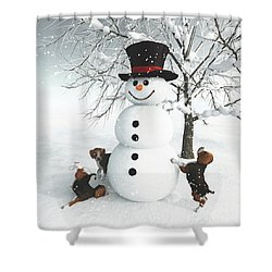 Dogs Discovering A Snowman Shower Curtain