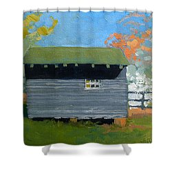 Dogwood Farm Shed Shower Curtain by Catherine Twomey