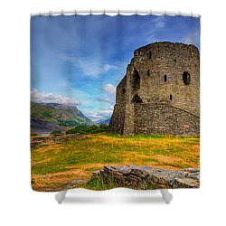 Dolbadarn Castle  Shower Curtain by Adrian Evans