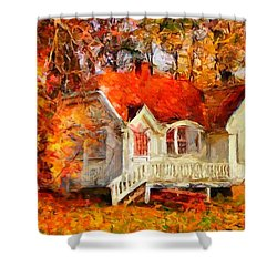Doll House And Foliage Shower Curtain