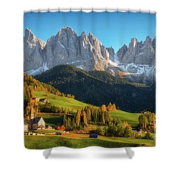 Dolomite Village In Autumn Shower Curtain