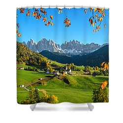 Dolomites Mountain Village In Autumn In Italy Shower Curtain