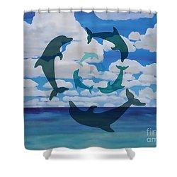 Dolphin Cloud Dance Shower Curtain