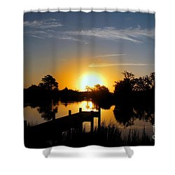 Dolphin Cove Sunrise Shower Curtain by Benanne Stiens