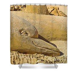 Dolphin Sand Castle Sculpture On The Beach 799 Shower Curtain